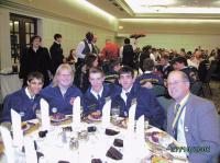 National FFA Convention (L to R): Atreau Jewell, Kayla Bradley, and James Sweeney Forestry Team from Vermont finishing Bronze, Tyler Steady Mt. Abraham delegate with Team Coach Bill Scott at the Awards Banquet in Indianapolis at the National FFA Convention and Career Development Events.
