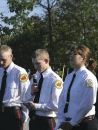 Fire Cadets and VUHS Seniors Trevor Patterson and Abbie Stearns spoke about commitment, service and remembrance of those lost at 9-11.