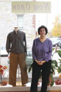 Standing in the newest edition to her store, Linda Cook welcomes return customers and new ones to The Men's Corner, located on the corner of Main and Green Street in Vergennes.