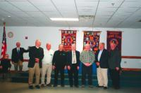 Dave Van Vleck, Roger Desabrais Sr, Jim Davignon, Mel Stearns, Bob Cyr, Tony Neri,Tom Broughton, received their 40 year pins for a combination of 280 years of community service from the Middlebury Lion's Club.  
