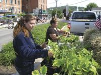 Middlebury FFA students (l to r)  Jordan Hubbell and Samantha Little hand out tomato plants they grew in the Hannaford Career Center greenhouse to the crowd at the Middlebury Memorial Day Parade.