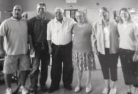 Gathered together for the 65th part at the Parish Hall in Vergennes is the Lattrell family, Tim, Robbie, Buster, Noreen, Debbie and Linda