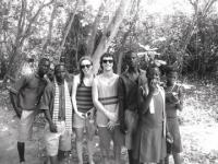 Vergennes students Sammy Kepes and Michael Danyow with students that they taught throughout the week at the Trinity Yard School in Cape Three Points, Ghana.