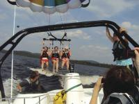 "Parasailing is just one of the amenities included at ""Saranac Village"", the Young Life camp on Upper Saranac Lake."