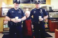 Rita and officers Holding court and keeping the peace at the coffee counter at Small City Market for the past eleven years, Rita enjoys keeping all of her customers happy and in line, even if they are officers of the law like Vergennes Police Officer Newton and Chief of Police Merkel.