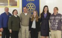 pictured above are Vergennes Rotary President Tony Panella, Middlebury Rotary President Nancy Foster,   Middlebury Sophomore Makayla Foster and her father, VUHS sophomore Emily Martin and VUHS teacher Sandy Chicoine.