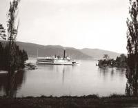 Ticonderoga leaving Basin Harbor Club, 1952. History just around every bend.