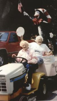 Locals like Gussie & Juna Perlee were always in the parade whether on horse or using horse power!