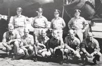 Flight crew photograph for B-17, My Prayer.  Roger Layn is the second from the left, standing in the back row.