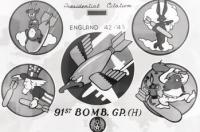 These are the insignias of the groups and men that Roger Layn served with and flew with. 91st Bomb Group (large in the center) and squadron (smaller ones on the outside) Insignias.