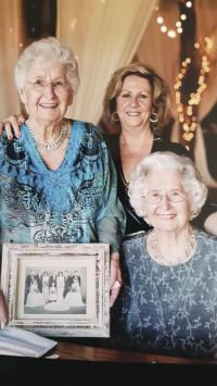 Lucille and Cecile are pictured here with 1948 wedding flower girl Margaret Deltufo at the wedding of Lucille's granddaughter Stephanie Skeffington, married on the same day sixty-eight years later.