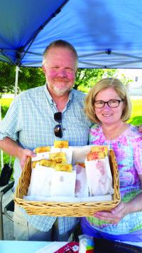 Vergennes Farmers Market Managers Chris & Sandy Reck not only organize the Vergennes market, but sell their own tasty Route 7  Pie Company summer treats.