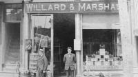 Cary's father Manley Marshall started out in business at this Whitehall, New York Store. He can be seen standing in front of the store proudly bearing his name.